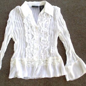 Chiffon Style Pleated Sheer Blouse ~ Bell Sleeves